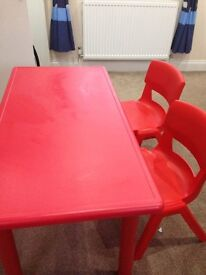 Metal, excellent quality (extremely strong material) red childrens table + 2 chairs included