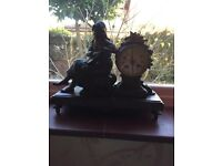 Superb old marble and bronze clock