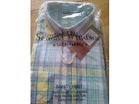 Samuel Windsor long sleeved 100% cotton shirt. Medium size. Yellow/blue mix. New, still in packaging