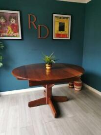 Vintage Rustic Solid Farmhouse Style Kitchen Dining Table - Mid Century