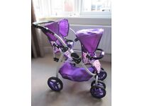 Dolls Tandem/Double Buggy