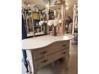 Dressing table - kidney - cream - wood - painted - vintage