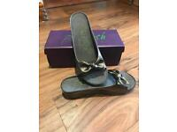 BLOWFISH Pewter Leather Brand New Boxed Mules