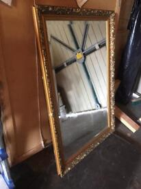 "Gold Dahlia edged mirror 37""25"""