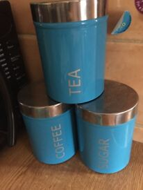 Tea/coffee/sugar & biscuit canisters