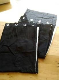 Black lined curtains 168cm x 228cm