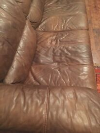 3 seater Settee and one single settee real leather brown