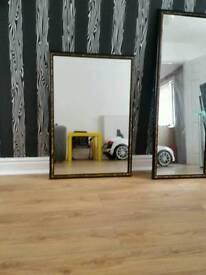 White black gold mirror
