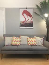Mid Century Style Grey 3 Seater Sofa and Armchair