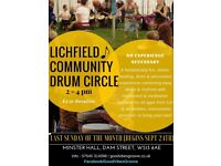 Lichfield Community Drum Circle 24th September 2 - 4pm, Minster Hall. Every last Sunday of the month