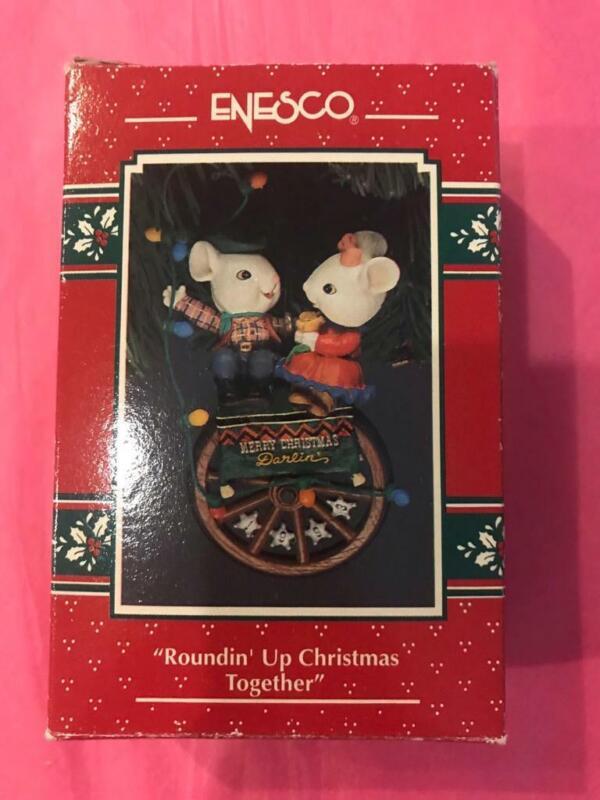 Enesco Ornament 1993 Roundin Up Christmas Together Mice 5th cowboy lasso EUC