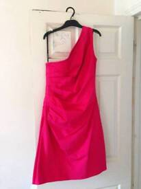 Size 14 pink one-shouldered Warehouse dress