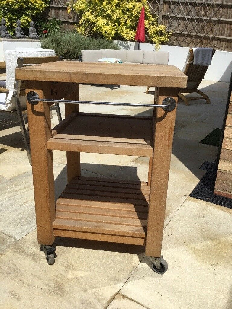 Kitchen Butchers Block Trolley Solid Wood From Habitat Good Condition