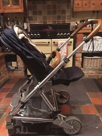 Urbo2 mamas and papas travel system, navy and brown leather