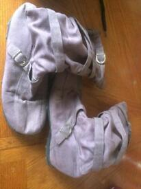 Purple suede boots size 8