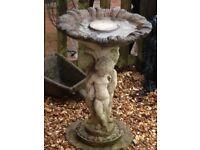 Gorgeous vintage large stone cherub bird bath