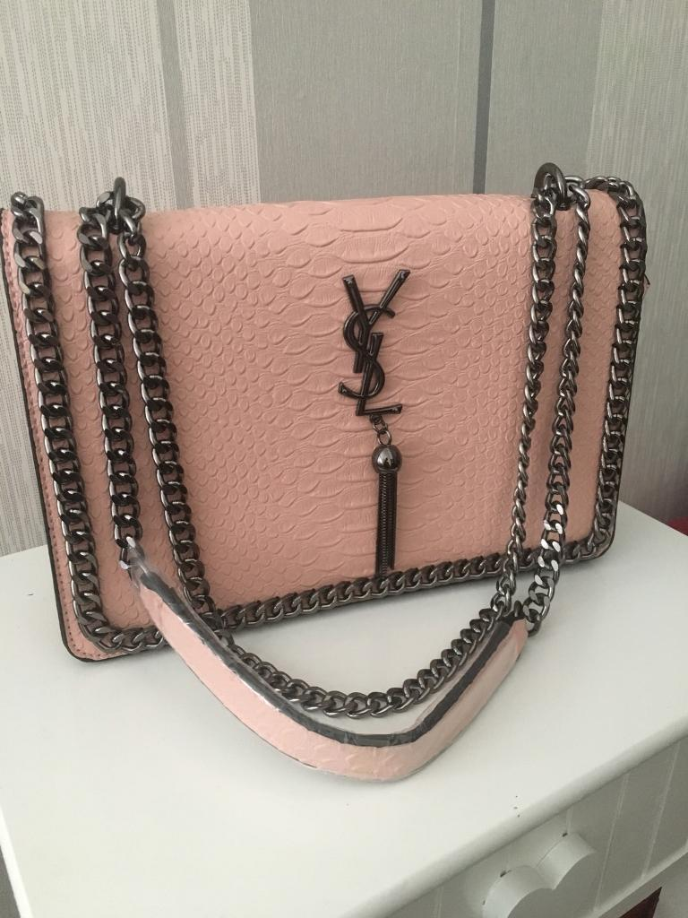 8d2f0f29f13 Yves Saint Laurent YSL pink snake skin effect bag and silver chain | in ...