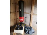 6ft punch bag with gloves , mits ,straps and bag