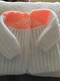 Peach and white matinee coat 0-3 months