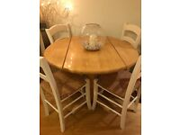 Pine dining room table and chairs