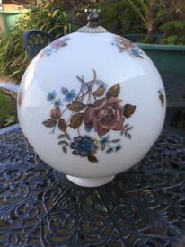 Large White Lighting Globe with Roses Pattern