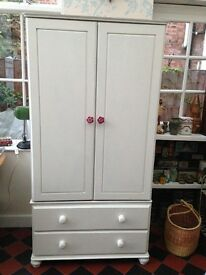 Painted solid pine wardrobe with 2 bottom drawers