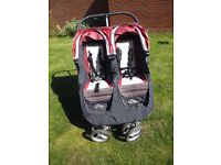 City Mini Double Baby Jogger Pushchair in red and black