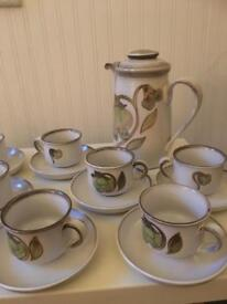 10 Denby Cups and Saucers and Teapot