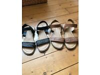 Two pairs of Sandals, size 4, Black and Tan, £3 per pair