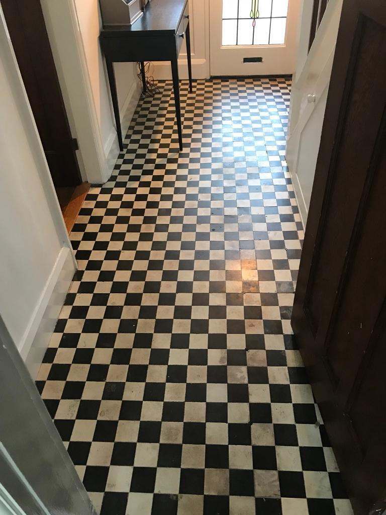 Original Victorian Floor Tiles Black And White 3 Inch Square Over