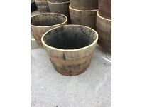 S A L E Oak Barrel Planters Half Barrels Garden Planter Large - Lots Available
