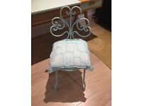 Small cast iron garden chair in mint green with matching cushion