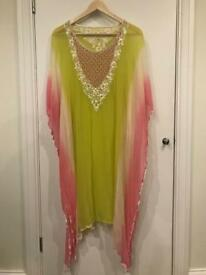 Pink and Green Middle Eastern-Style Kaftan