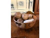 Wooden fruit in hand made bowl