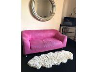 Suede hot pink sofa