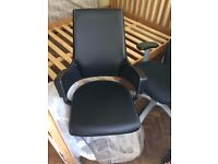 Black Designer Leather Office Chair - Nearly New