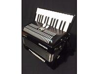 Hohner BR48B-N Bravo II Piano Black Accordion 48 Bass 26 key 2 Reed with case