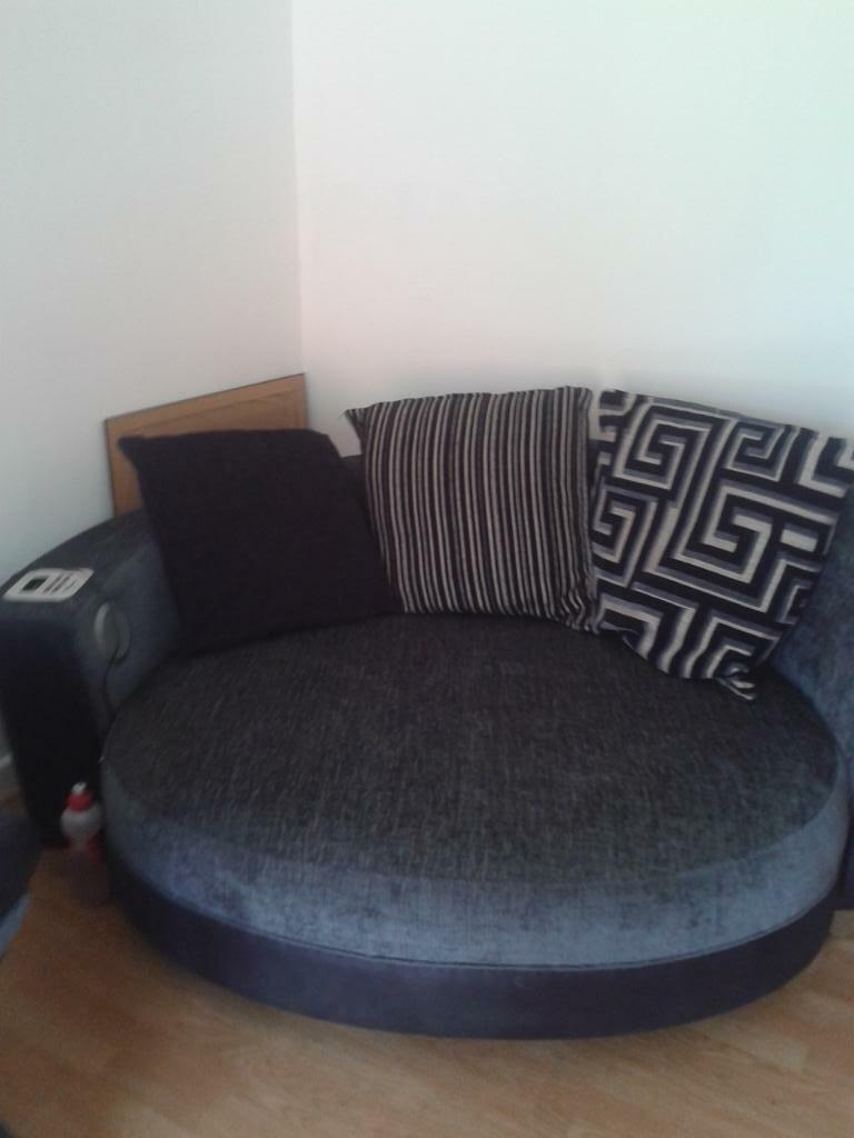 Large Round Sofa With Built In Speakers And Docking