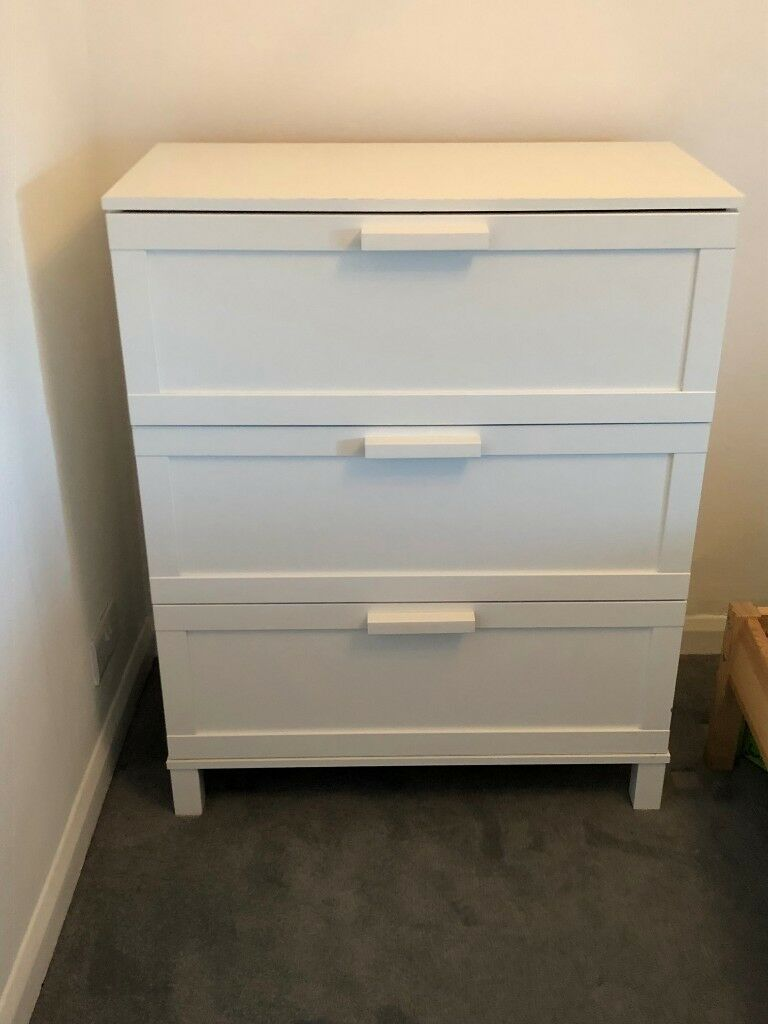 White Ikea Clothes Dresser 3 Drawers With Magnets To Keep Shut