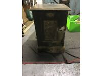 Victorian wooden coal scuttle with ebony finish and brass handles