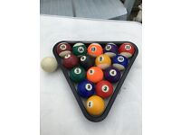 POOL SET OF BALLS 16 IN TOTAL WITH TRIANGLE SECOND HAND PLEASE VEIW ALL NINE PHOTOS