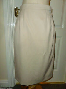 AQUASCUTUM 100% pure new wool cream fully lined wiggle pencil SKIRT US 4 UK 8