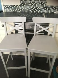 2 x grey painted pine breakfast bar stools