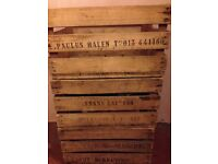 Vintage Wooden Crates. Beautiful Wood. Original Engravings. Strong and sturdy.