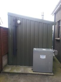Wood pellet boiler with shed which can be sold seperate