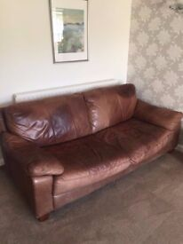 Brown Leather Sofas 3 seater and 2 seater good condition