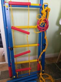 Swedish wall, ladder, rings, rope, indoor kids gym