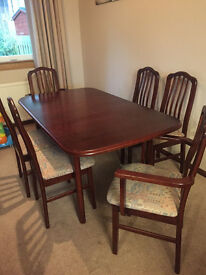 REDUCED: Mahogany Extending Dining Table and Six Chairs for sale