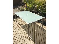 Glass + Metal Garden Table