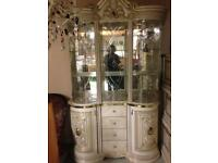 Cream and gold display cabinet £1000